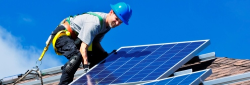 Roof-top home solar panel installation